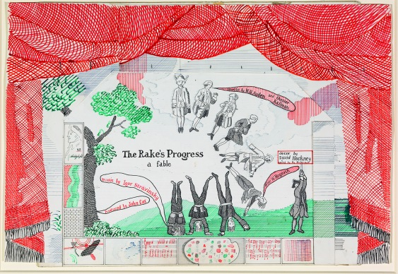 "David Hockney""DROP CURTAIN FOR THE RAKE'S PROGRESS FROM THE RAKE'S PROGRESS"" 1975-79Ink And Collage On Cardboard14 x 20 1/2""© David HockneyCollection The David Hockney FoundationPhoto Credit: Richard Schmidt"